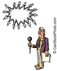 stressed reporter-100 - Cartoon image of stressed reporter....