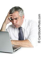 stressed senior businessman gesture work laptop - stressed...