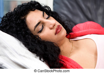 Stressed sleep woman