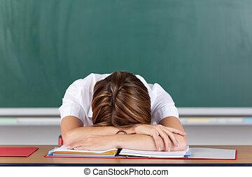 Stressed teacher - Teacher suffering from acute stress...