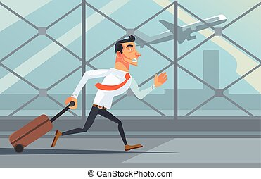Stressed unhappy businessman office worker character running after airplane. Lateness concept. Vector flat cartoon illustration