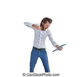 Stressed western businessman punching a tablet isolated on white