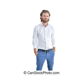 Stressed western businessman puts his arms in pocket isolated on white