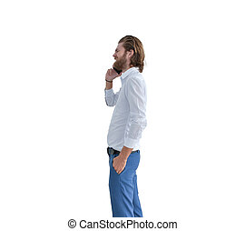 Stressed western businessman taking on the phone isolated on white