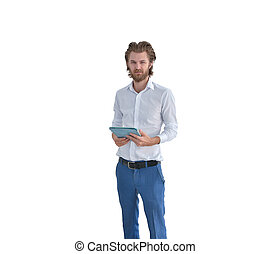 Stressed western businessman using a tablet isolated on white