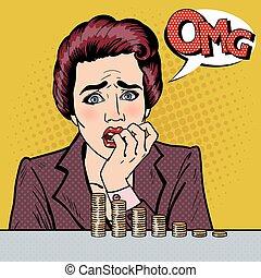 Stressed Woman Looking at her Last Savings. Pop Art. Vector...