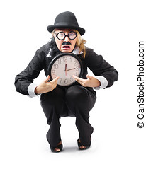 Stressed woman with clock