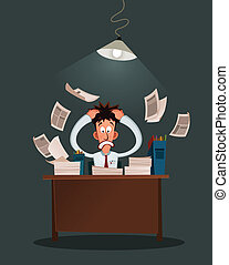stressed worker - office worker get stressed because of his ...