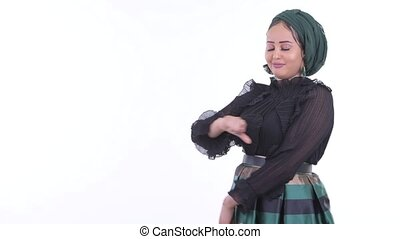 Stressed young African Muslim woman showing to the back -...