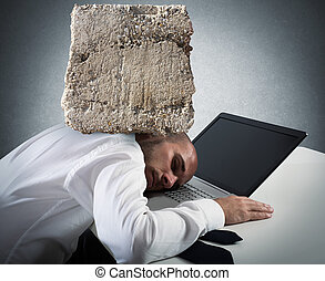 Stressful businessman at work - Businessman sleeping on a...