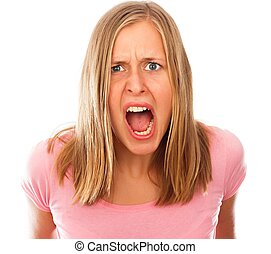 Stressful Life - Angry stressful young woman shouting out...