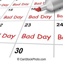 stressful, of, slecht, kalender, tijd, ruige , dag, optredens