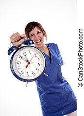 Stressful Time - Young Expressive Woman In Blue Uniform...