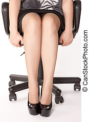 stressful woman sitting in office chair