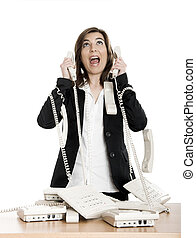 Stressful work - Busy woman working and answering a lot of...