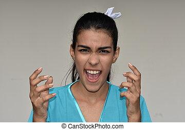 Stressful Young Female Nurse