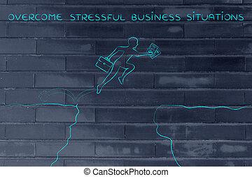 stressful, zakelijk, toestanden, op, oversome, klip, jumpying, man