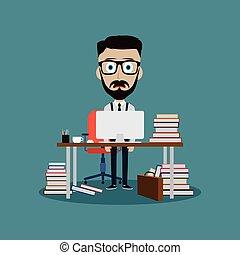stresszel teli, munka hivatal, mögött, íróasztal, üzletember
