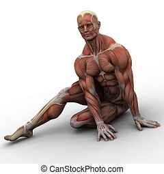 stretch - a male model and his muscles in his scary...