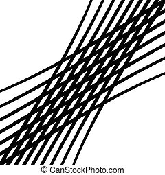 Stretch grid, mesh. Waving, wavy intersect lines. Interlock, tangle, interlace lines. Undulating, billowy stripes. Squiggly, squiggle, wobble weave lines pattern, background, texture. Square format abstract geometric illustration