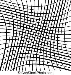 Stretch grid, mesh. Waving, wavy intersect lines. Interlock,...