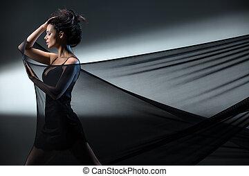 Stretch mesh - Graceful brunette stretches stretch mesh...