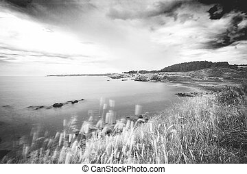 Stretch of natural coast in Bulgaria on the Black Sea photographed in black and white and in long exposure