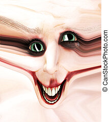 Stretched Creepy Clown Face - Clown face that has had its...