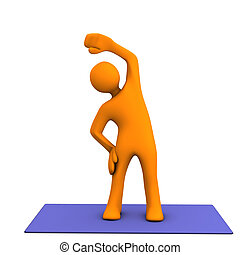 Orange cartoon character makes sport. White background.
