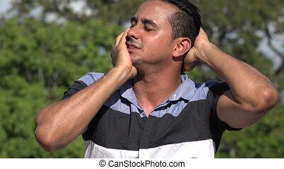 Stretching Adult Hispanic Man