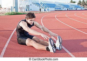 stretching., athlète, jeune, contre, stadium., fond, marques...