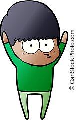 stretching cartoon boy