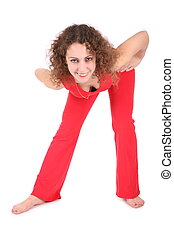 stretching girl in red
