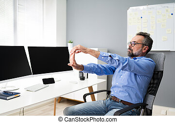 Stretching Office Workout. Desk Stretch Exercise