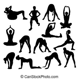 Stretching Sport Activity Silhouettes