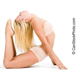 Stretching - Photo of active girl with sporty figure lying...