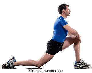 stretching, workout, houding, door, een, man, op, studio,...