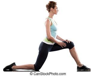 stretching, workout, houding, door, een, vrouw, op, studio,...