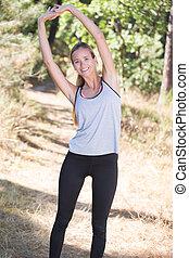 Stretching,  Workout, vrouw, haar, Voor