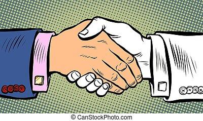 stretta di mano, affari, accordo, affare