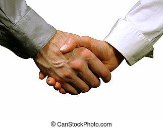 stretta di mano, affari, background), (gray, uomo