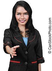 stretta di mano, affari donna, offerta, asiatico, attraente