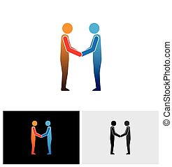 stretta di mano, amici, -, augurio, mano, vettore, uomini affari, scuotere, funzionari, corporativo, o, icona