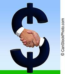 stretta di mano, con, soldi, segno