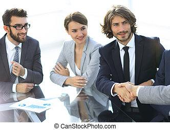 stretta di mano, consoci, a, uno, riunione affari