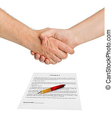 stretta di mano, contratto