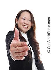 stretta di mano, donna, affari asiatici