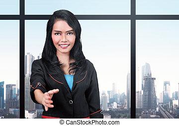 stretta di mano, donna, offerta, affari, associazione, asiatico, carino