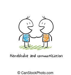 stretta di mano, e, comunicazione