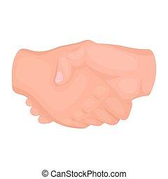 stretta di mano, illustration., simbolo, isolato, mano, gesti, fondo., vettore, bianco, icona, stile, cartone animato, casato